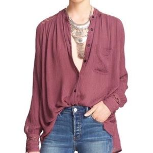 Free People The Best Button Down Blouse Purple